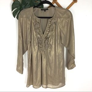 Nanette Lepore | Metallic Gold Semi Sheer Blouse